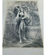 """Antique P.O.Vickery""""The Speaking Well"""" 1882 Picture Print  Augusta Maine - $34.99"""