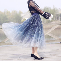 Sequined Tulle Midi Skirt Outfit Navy Gold Sparkly Midi Bridesmaid Skirt Custom image 6