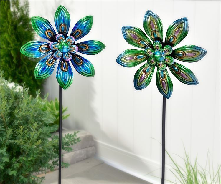 """Set of 2 - 47.2"""" Blue Skies Peacock Design Wind Spinner Garden Stakes Metal"""