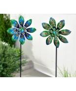 """Set of 2 - 47.2"""" Blue Skies Peacock Design Wind Spinner Garden Stakes Metal - $98.99"""