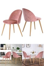 Dining Chairs Set Soft Velvet Padded Seat Lounge Pink Retro Kitchen Livi... - $173.78