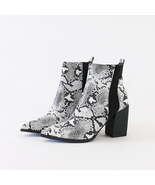 judith-07 vegan snakeskin chelsea ankle boots booties - $34.99