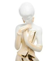 Elite Italian Ceramic Figurine Wind Lady Pure Platinum Hand Painted NEW - $287.10