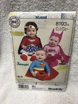 SIMPLICITY PATTERN 8193 BATGIRL SUPERGIRL COSTUMES BABIES SIZES XXS- LAR... - $12.86