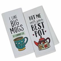 Coffee Love Printed Dish Towels Set of 2 New I Like Big Mugs Hit Me w/ B... - $19.79
