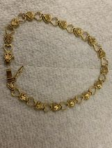 "Real Genuine 14K Solid Yellow Gold 7"" Diamond Cut Heart Link Bracelet 5.3G image 4"