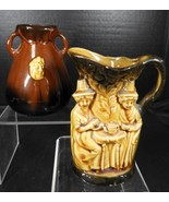 Two Piece Lot of Antique Vintage English Pottery* Tavern Jug & Vase - $19.94