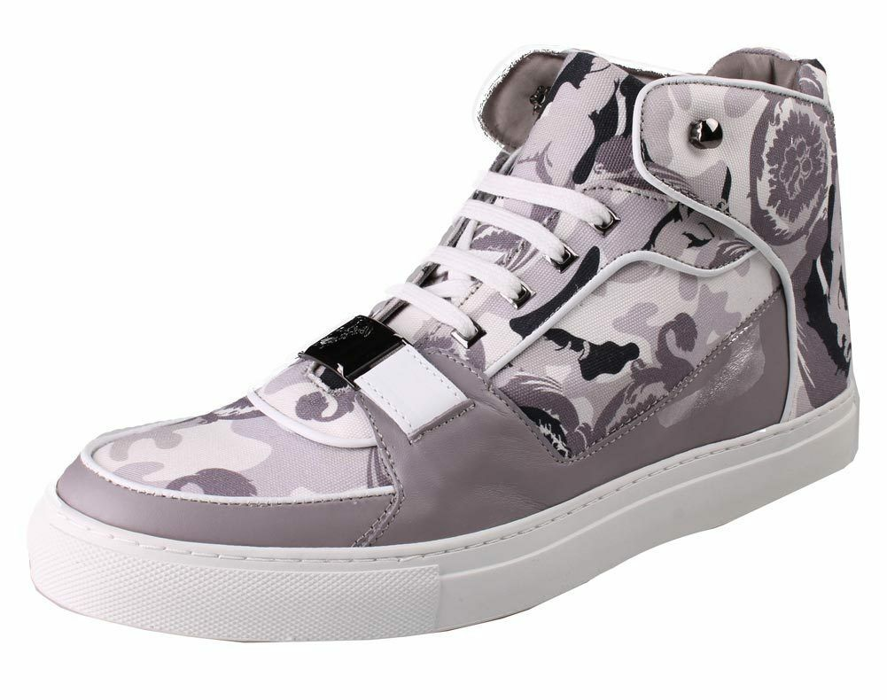 Versace Collection V900357 Grey Camo Print Hi Top Canvas Fashion Sneakers Shoes