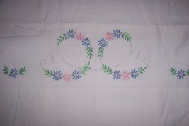 Vintage Hand Embroidered Pillowcase - Pink & Bl... - $7.92