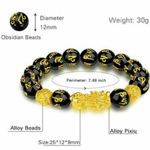1 x Black Obsidian Feng Shui Pi Xiu Bracelet Beads Attract Good Luck Wealth  image 2