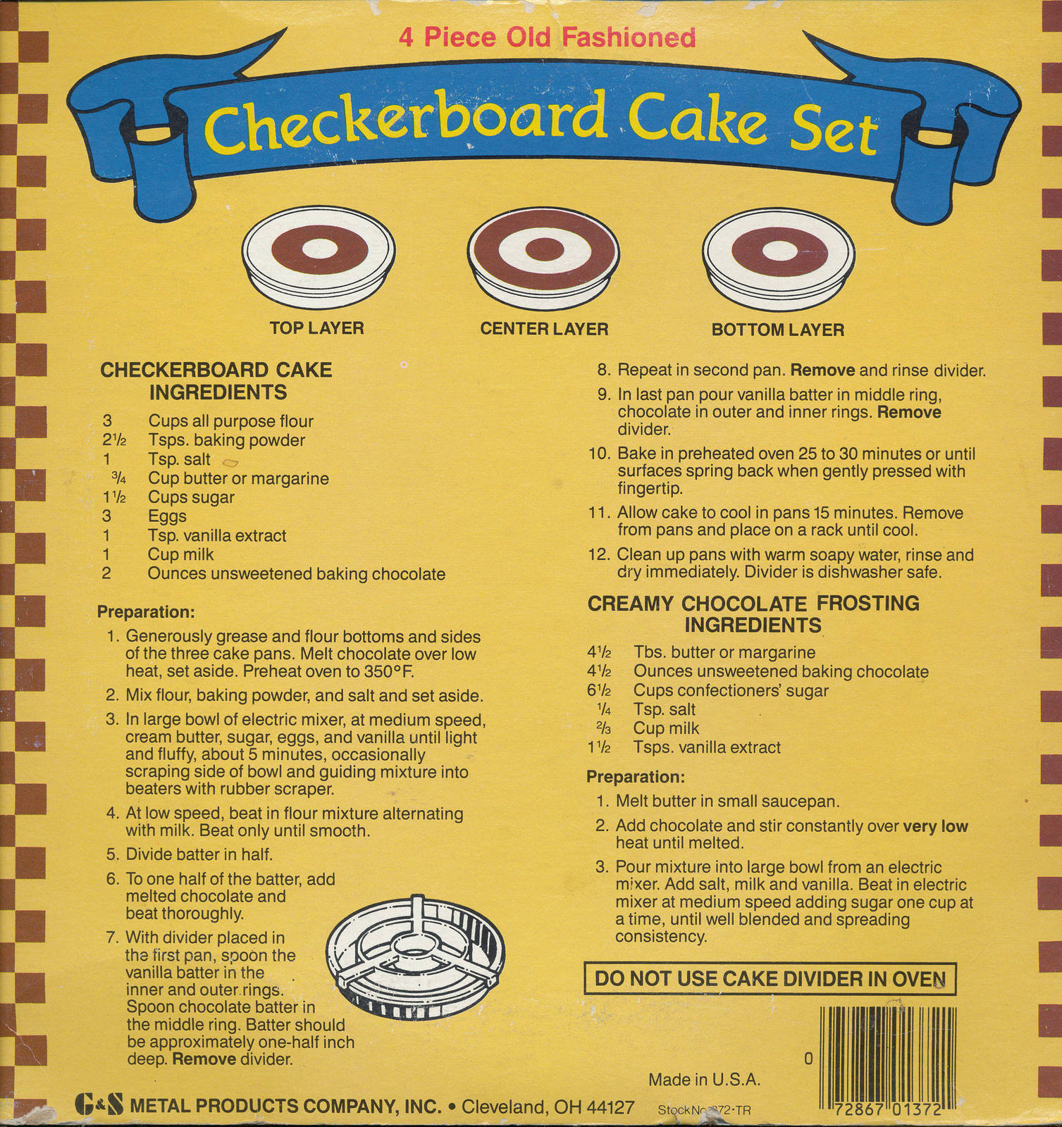 G & S Checkerboard Cake Set 4 Piece Set Original Box