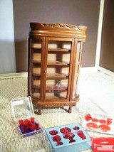 Dollhouse China Cabinet w/Ruby Red Dishes glasses cups Chrysnbon Large L... - $84.15