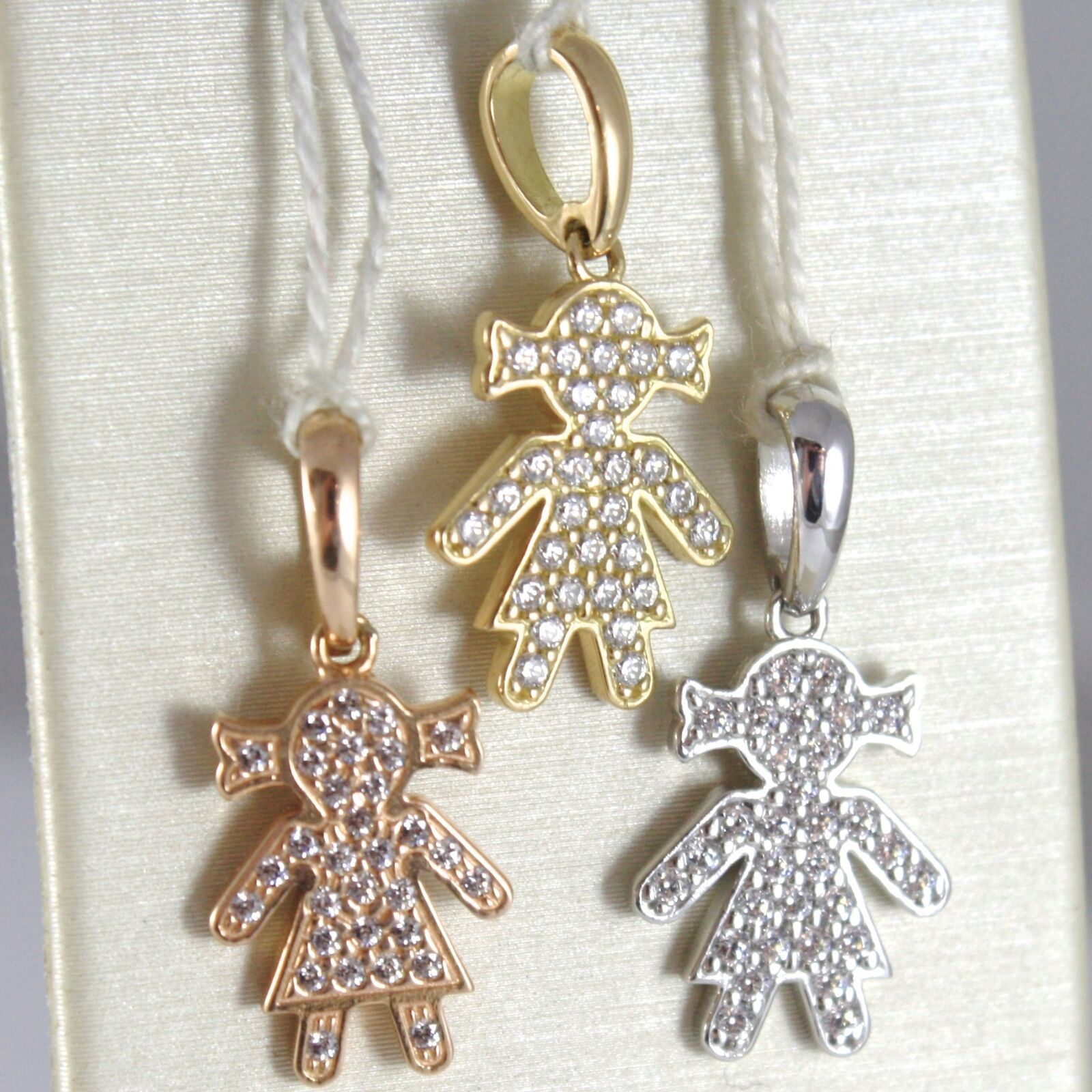 Yellow Gold Pendant, Pink Or White 750 18K, Child, Baby Girl With Zircon, Italy