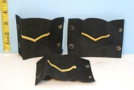 Vintage Trio of Black & Yellow Corporal Epaulettes Single Stripe Snaps - $9.89