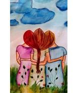 Sisters Best Friends Tangle Hair Watercolor Art 6 x 8  - $12.90