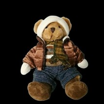 Russ Berrie US Teddy Bear Bomber Scarf Jeans Beanie Stuffed Animal Plush... - $18.80
