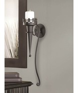 Candle Wall Sconce Matte Black Gothic Torch Style  - $24.95