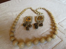 """Necklace (28"""") & Earrings (11/2""""X11/2"""") , Costume , Brown/Cream , Vintage - $45.00"""