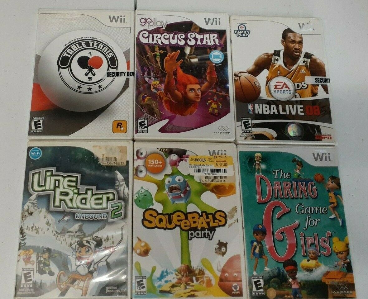 Primary image for LOT 6 Nintendo WII Daring Girls Line Rider Squeeballs Circus Star Nba Live Table
