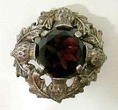 Vtg Signed Miracle Brooch Large Faux Amethyst Celtic Scottish Thistle Pin - $49.99