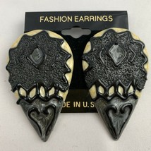 Vintage Funky Big Enamel Earrings Black Tribal Unique Sugared Texture NOS - $15.11