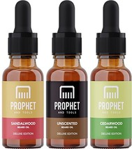 DELUXE EDITION 3 Beard Oils Set: Sandalwood, Cedarwood and Unscented - USA's TOP image 1