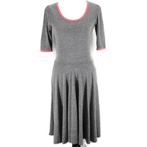 Lularoe Nicole Dress Womens M Heather Gray Red Trim Short Sleeve Full Skirt - $19.99