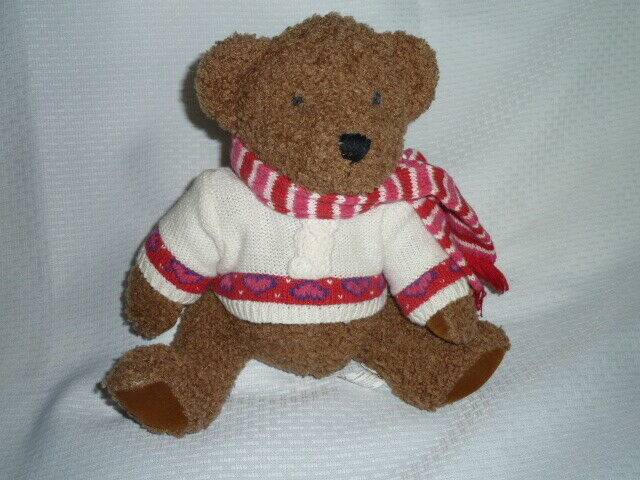 "Primary image for GYMBOREE BROWN BEAR Plush White sweater red heart stripe scarf Jointed 13"" NWOT"