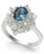Charter Club Silver-Tone Blue Sapphire Cubic Zirconia Oval Halo Ring, Size 9 NIB image 1