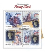 SIERRA LEONE 2015 IMPERF STAMP ON STAMP PENNY BLACK 175TH 1ST STAMP S114... - $22.23 CAD