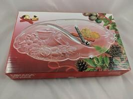 """Mikasa Chrystal Holiday Bells Divided Relish Tray Dish RC197/345 12"""" - $7.35"""