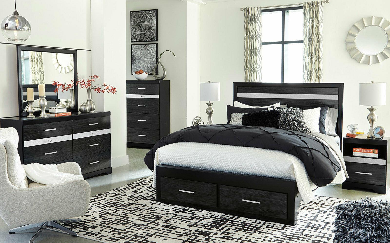 PRIMA 5 Pieces Modern Black Bedroom Suite W. King Size