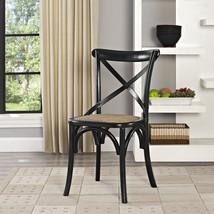 Dining Side Chair Black Cross Back Wooden Living Room Rattan Seat Wood K... - €146,51 EUR
