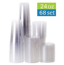 TashiBox 24 oz disposable clear PET plastic cups with flat lids, sets of... - $18.09