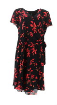 H Halston Watercolor Floral Printed Wrap Dress Black 16 NEW A353394 - $49.48