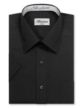 Berlioni Italy Men's Premium Classic Button Down Short Sleeve Solid Dress Shirt image 2