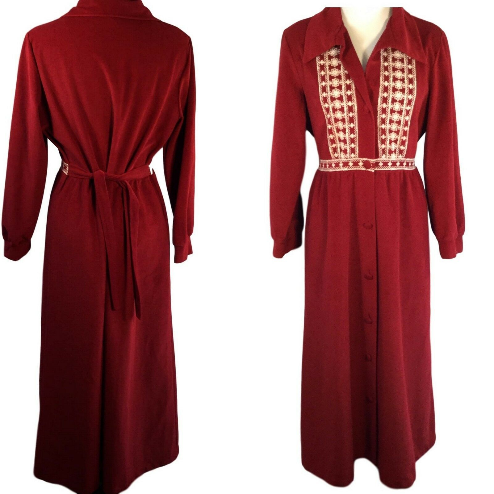 Primary image for Vtg Sears at Home Velour Lounge Wear Robe Embroidered Yoke Covered Buttons M
