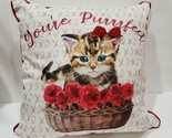 "Valentines Day Kitten Cat YOUR PURRFECT Roses Throw Pillow Home Decor 18""x18"""