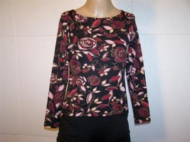 APOSTROPHE Shirt Top PS Floral Nylon Spandex Stretch Red Black Pink - $10.36