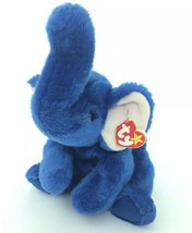 "1998 Original Beanie Buddy Buddies Peanut Blue Elephant W/Tag Plush Toy 12"" - $17.81"