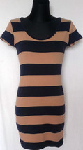 H&M Beige&Blue Stiped Short Sleeve Women's Dres... - $9.49