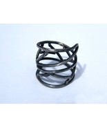 Net. adjustable, wrapped around sterling silver ring, oxidized silver ri... - $1.637,63 MXN