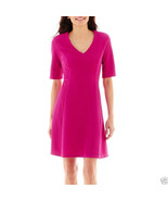 R&K Originals Elbow-Sleeve Ribbed Jersey Knit Dress Size PL New Msrp $70  - $21.99
