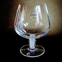 4 (Four) COURVOISIER CRYSTAL COGNAC GLASS / SNIFTER w Frosted Art Deco Stem image 3