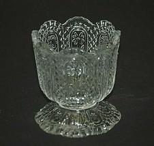 Avon Fostoria Clear Glass Votive Candle Holder Diamond Point Floral Designs - $12.86