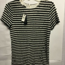 Talbots Womens Short Sleeve Sweater Black Beige Striped Fringe Pullover ... - $21.77