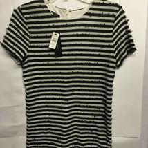 Talbots Womens Short Sleeve Sweater Black Beige Striped Fringe Pullover S New - $21.77