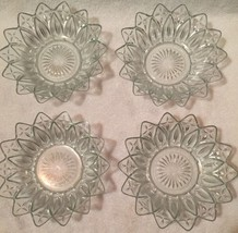 """4 Vintage Federal Pressed Clear Glass Sunflower Petal Bowl Flower Daisy 8"""" - $51.43"""