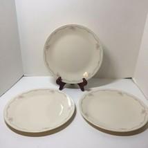 "3 Dinner Plates English Breakfast Corelle Pink Flowers Blue Trim 10.25"" - $14.50"