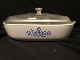 Vintage Corning Ware Blue Cornflower P-10-B With Lid Casserole Dish 10x10x2 - $15.83